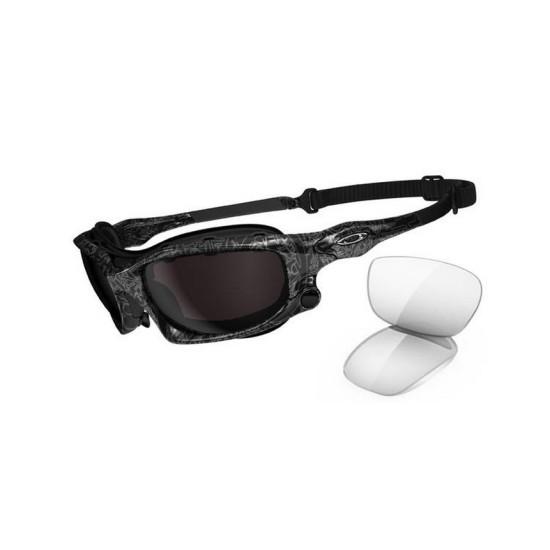 Oakley Wind Jacket OO 9142 02 Black Silver Ghost Text