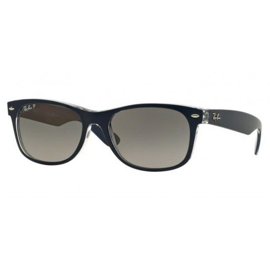 Ray-Ban RB 2132 New Wayfarer 6053M3 Superiore Blu Su Trasparente | Occhiale Da Sole Uomo