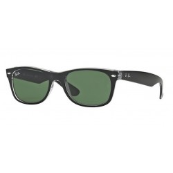 Ray-Ban RB 2132 New Wayfarer 6052 Nero Superiore Su Trasparente