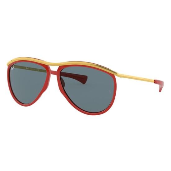 Ray-Ban RB 2219 Olympian Aviator 1243R5 Rosso / Oro | Occhiale Da Sole Unisex