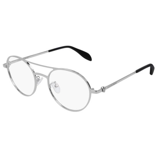 Alexander McQueen AM0175O - 004 Argento   Occhiale Da Vista Uomo
