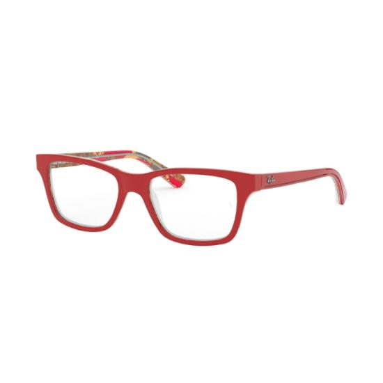 Ray-Ban Junior RY 1536 - 3804 Rosso Su Trama Rosso Marrone   Occhiale Da Vista Bambino Unisex