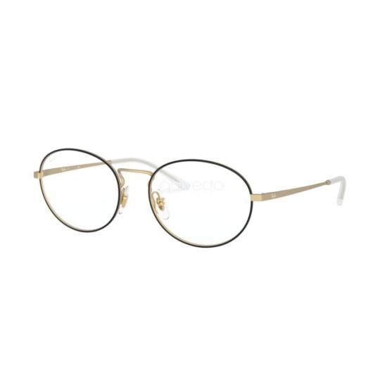 Ray-Ban RX 6439 - 3051 Nero Opaco Su Gomma Oro | Occhiale Da Vista Unisex
