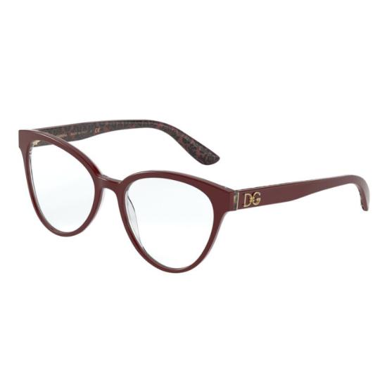Dolce & Gabbana DG 3320 - 3233 Bordeaux Su Damasco Nero | Occhiale Da Vista Donna
